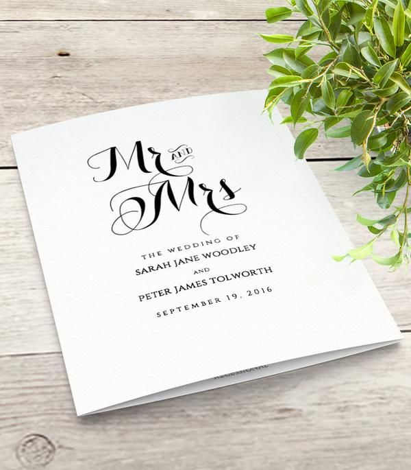 Folded Wedding program Order of Service template. Instant download. Edit, print, trim, fold. Easy to edit. Save money with these beautiful wedding templates