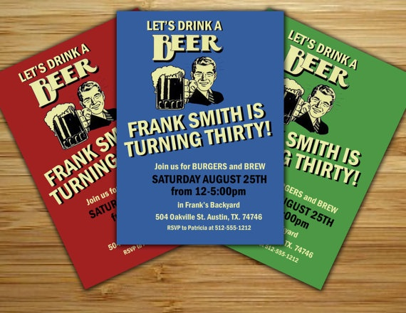 Beer lovers Birthday Party Invitation / invite - 21st 30th 40th 50th Personalized DIY retro beer birthday party decorations. $12.00, via Etsy.
