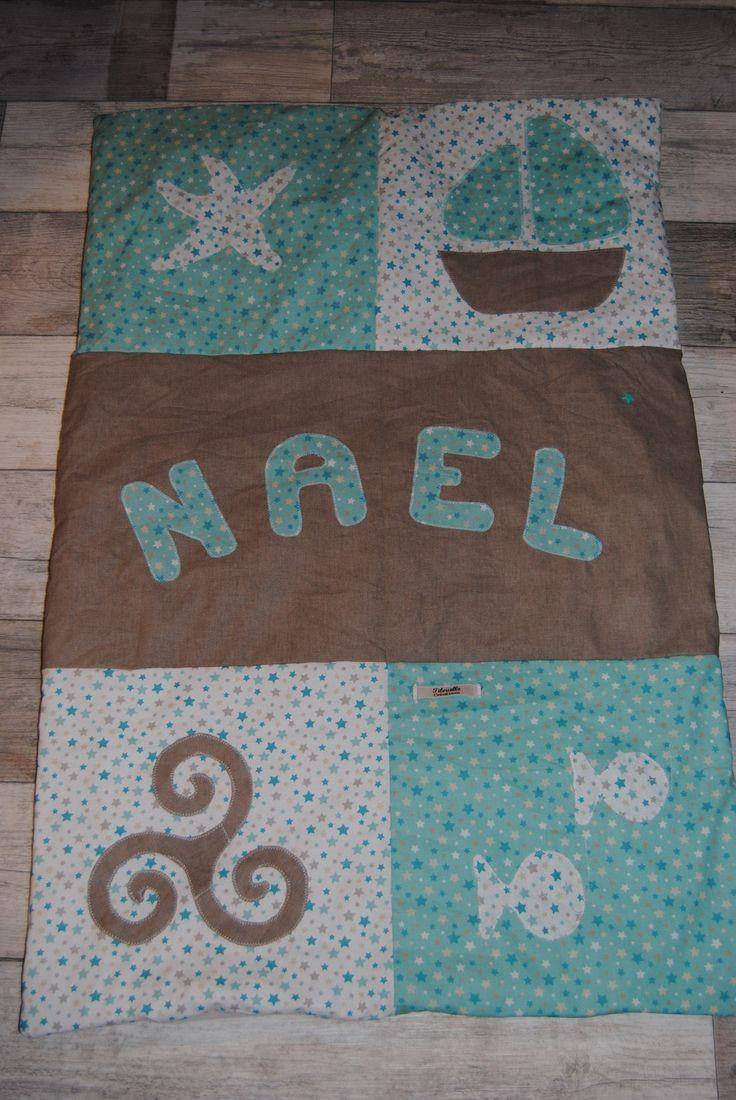 Couverture bébé personnalisée, bateau, triskel, poisson; pour Nael : Puériculture par tilouelle