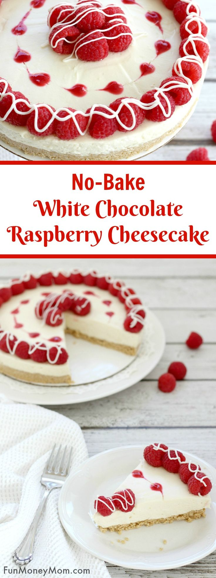 White Chocolate Raspberry Cheesecake - This no-bake cheesecake recipe is the perfect dessert for any occasion. It can be a Valentine's Day cake to show someone you love them or just an easy dessert recipe to enjoy when you're craving a sweet treat. Can you ever really go wrong with a white chocolate dessert?! via @funmoneymom