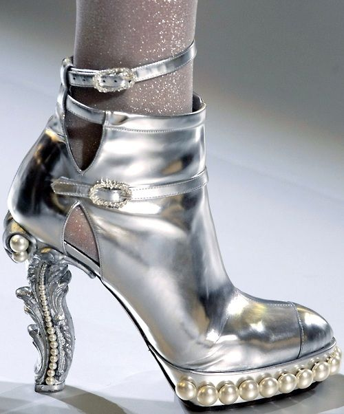 Chanel Silver & Pearls Couture Runway Platform Shoes Spring 2010 #Heels #Booties