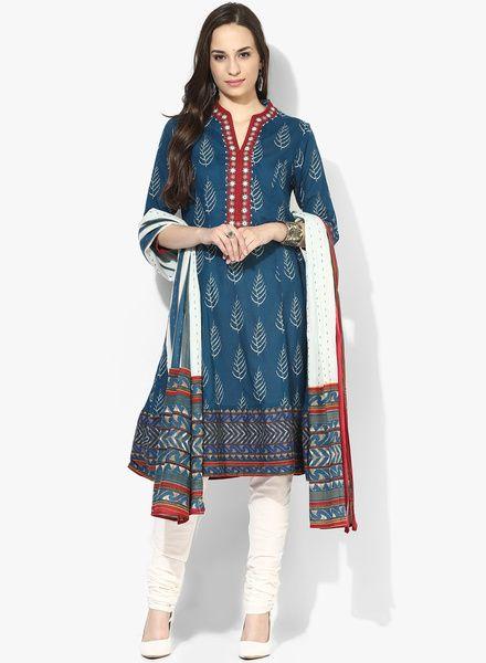 Buy Beautiful Biba Blue Printed Cotton Kurta Churidar With Dupatta@looksgud.in  #party #Printed