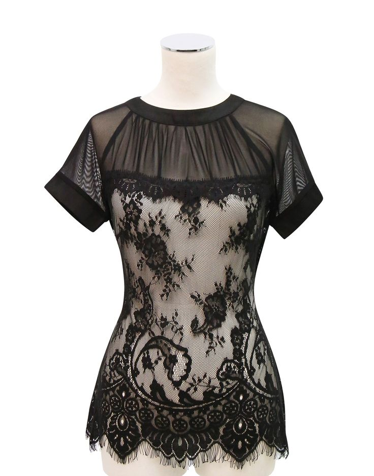 Kitten D'Amour - Midnight in Paris Lace Top - new vintage pinup rockabilly - black, cream, mesh,  Buy Recent Collections: http://www.kittendamour.com/brand_collections  Buy & Sell Old Collections: https://www.facebook.com/groups/1384135828515551/