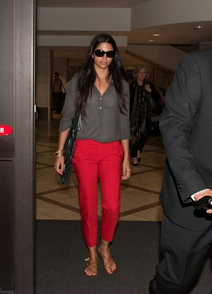 Camila Alves - Camila Alves at LAX in Red Pants