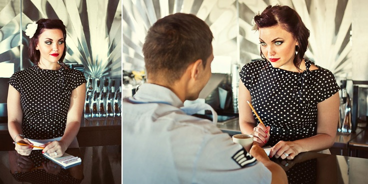 1940s diner style engagement photo shoot ... so cute