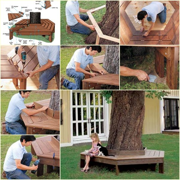 How To Build A Wrap-Around Tree Bench tutorial and instruction. Follow us: www.facebook.com/fabartdiy