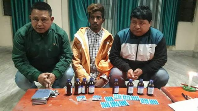 Sikkim police arrests 3 people with Drugs   Ong Tshering Sherpa (Range Officer working under Sikkim Forest Dept) 42 years r/o Sombarai W.SKM a/p Indira Bye Pass Gtk 2. Gautam Thapa 49 years r/o M. Syari and 3. Nischal Sharma 22 years r/o Samastipur Bihar a/p Indira Bye Pass GTK. Was arrested with prohibited drugs  the above named accused persons were intercepted at Rangpo border Check Post by police personnel on duty with alleged possession of 08 bottles of prohibited cough syrups and 80…