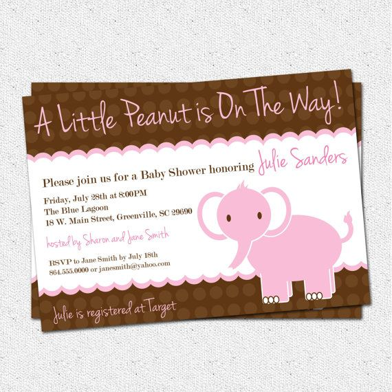 Baby Shower Invitation Girl, Elephant , Little Peanut, Pink and Brown, Personalized DIY Digital file