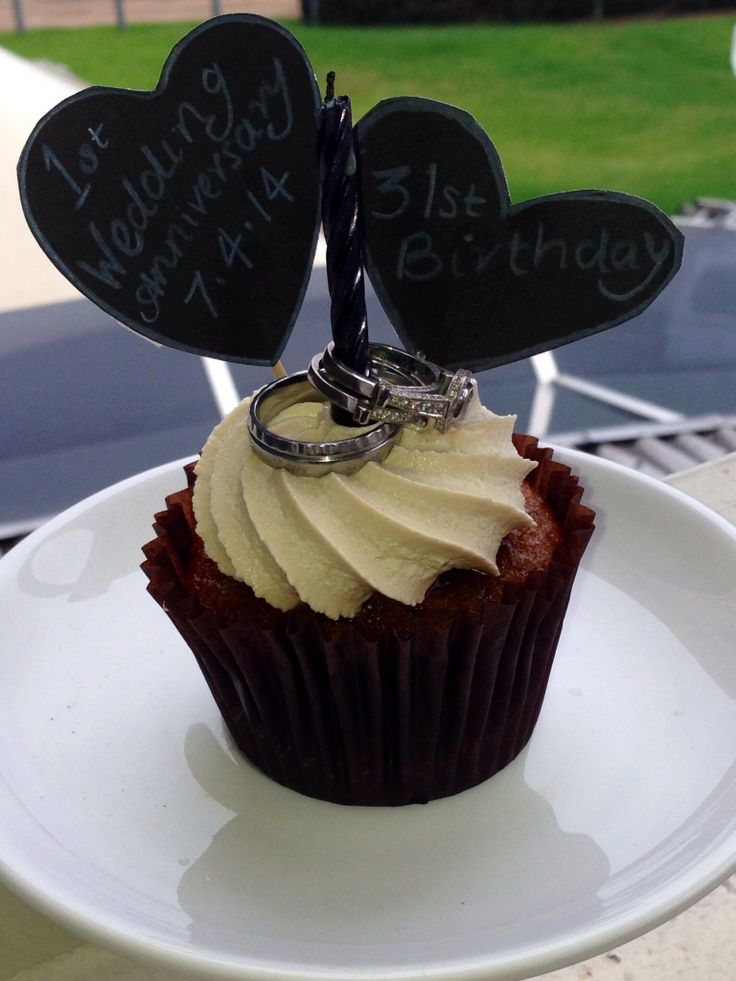 1st Wedding Anniversary idea - our rings on a cupcake