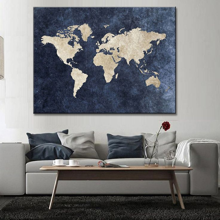 Best 25 global map ideas on pinterest raphael js naver v app abstract blue world map canvas print large modern global map painting wall art gumiabroncs Gallery