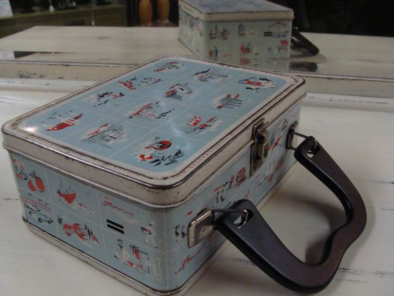 VINTAGE 60's THERMOS LUNCHBOX travel usa states