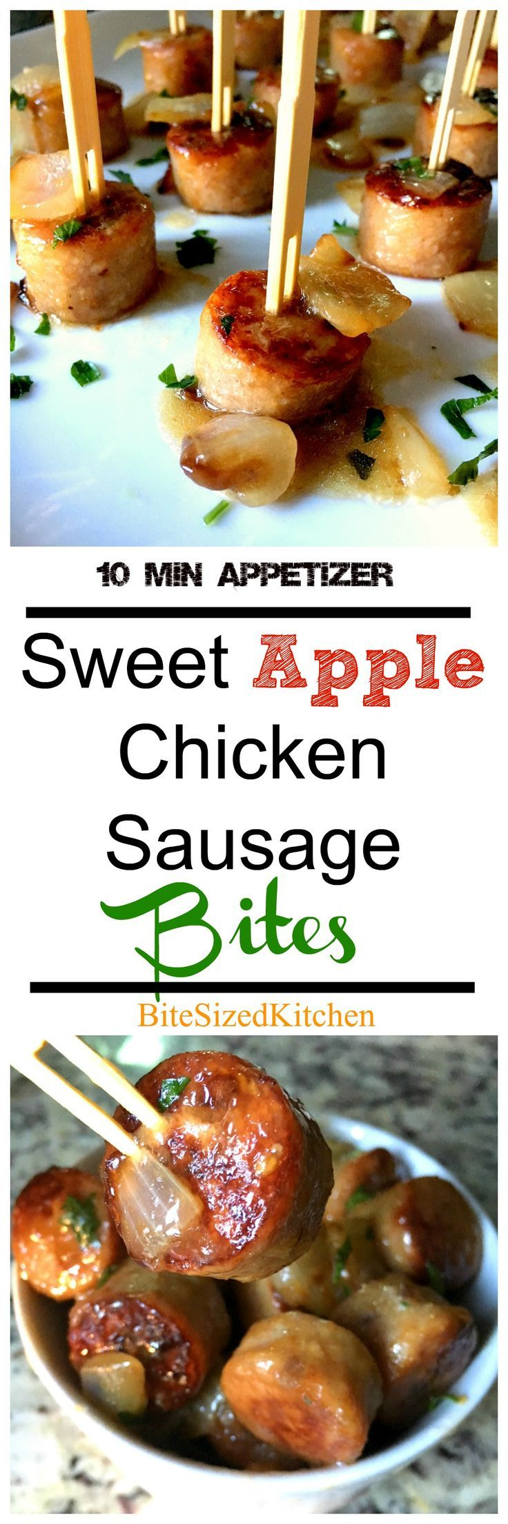 Easy and quick appetizer! These Sweet Apple Chicken Sausage Bites are so delicious and done in 10 minutes! The perfect party or crowd appetizer!