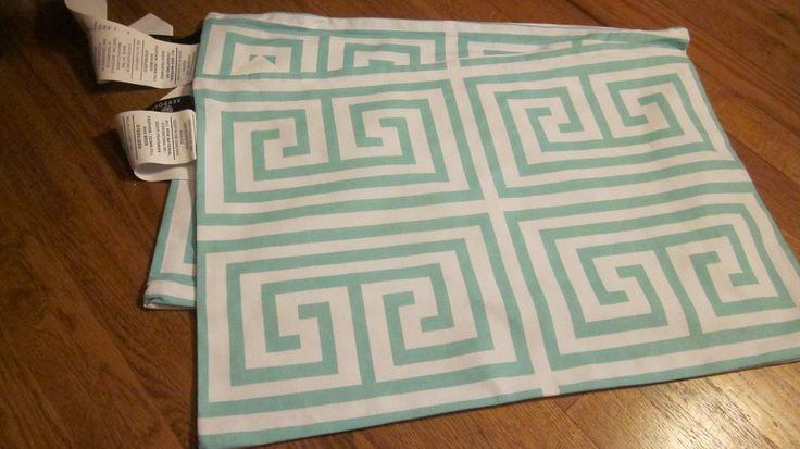 Maze Aqua Pillow Slips Cover Shell Light Canvas 14 X 20 Oblong W/Zipper 2 Incl