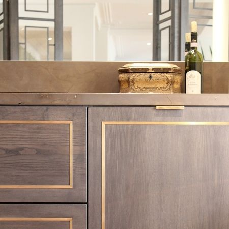 Stained + brass inlay // LEO KITCHEN by Birgit Israel. How about using Overlay Rex to get this look?
