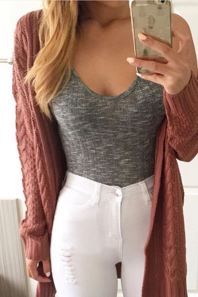 Outfit idea: grey bodysuit, white jeans and a coloured cardi