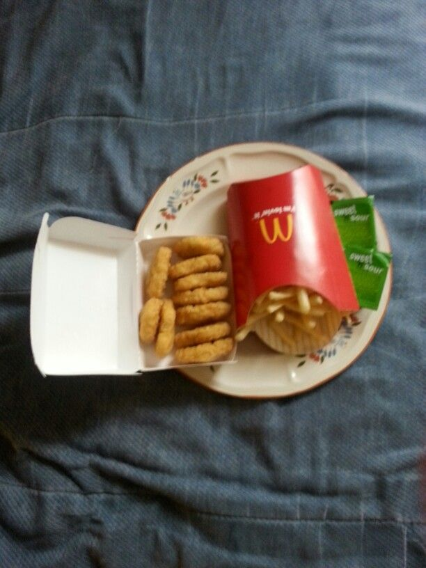 10 Pieces of Chicken McNuggets, French Fries,& Sweet & Sour Sauce from McDonald's. #McDonalds