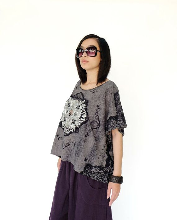 NO.169 Dark Gray and Silver Cotton Jersey Batwing by JoozieCotton