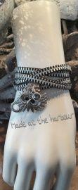 rits armband zwart zilver met uil