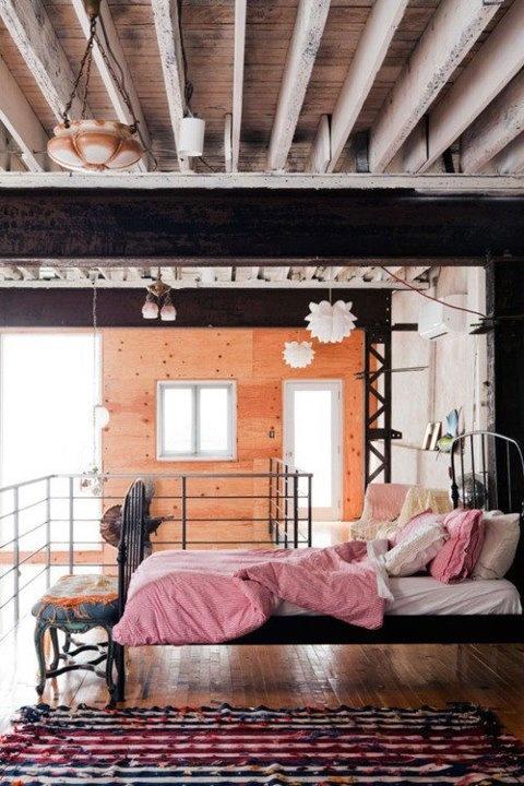 Feminine, Industrial Bedroom