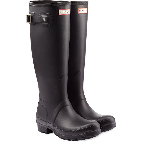 Hunter Tall Wellington Boots (€81) ❤ liked on Polyvore featuring shoes, boots, black, black knee high boots, black rain boots, wellington boots, black boots and round toe boots