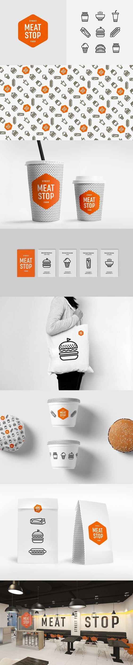 (53) Moscow (Москва) … | Pinterest / Branding / Ideas / Inspiration / Brand / Design / Food / Restaurant / MEat Shop / Hamburger / Line Art / Accent Color / Orange / Bold / Fun / Modern