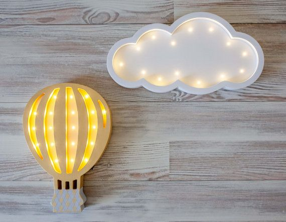 Hot Air Balloon Nursery decor Night light Baby lamp от Bukvamd