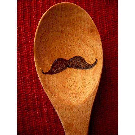 Moustache Wooden Spoon. $15.00, via Etsy.