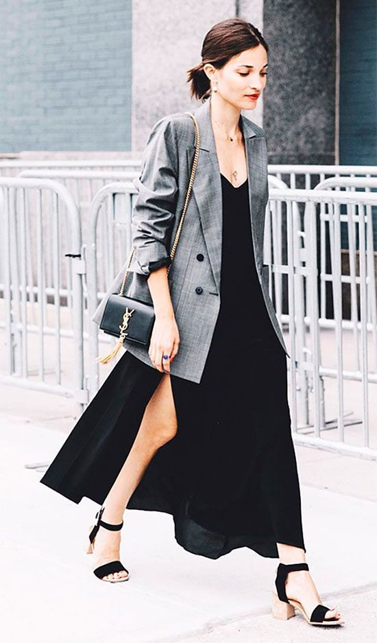 grey check blazer, black slip dress, black block heel sandals, black chain strap bag. Fall outfits, fall fashion trends 2017, fall trends 2017, grey blazer outfits, check blazer outfits, plaid blazer outfits, glen plaid blazer, prince of wales blazer, street style, casual outfits, party outfits, night out outfits, dinner outfits.