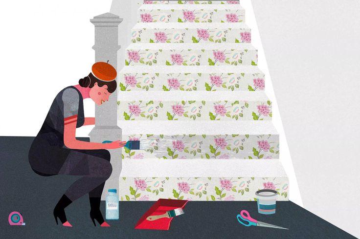 Comment embellir des escaliers avec du papier peint Appliquer une couche de peinture latex transparente pour proteger le papier peint