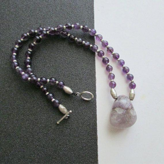 Amethyst Necklace Purple Gemstones Necklaces by BlueMargarita