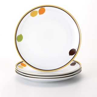 @Overstock - Rachael Ray 'Little Hoot' 4-piece Dinner Plate Set - The yellow and brown striped rims and scattered leaf patterns embellish these classic dinner plates from Rachael Ray. This four-piece set offers a contemporary style and touch of fun.    http://www.overstock.com/Home-Garden/Rachael-Ray-Little-Hoot-4-piece-Dinner-Plate-Set/7468833/product.html?CID=214117  $28.99