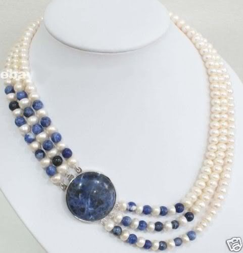 Charming! 8-9MM White Akoya Cutlured Pearl & lapis Beads Necklace