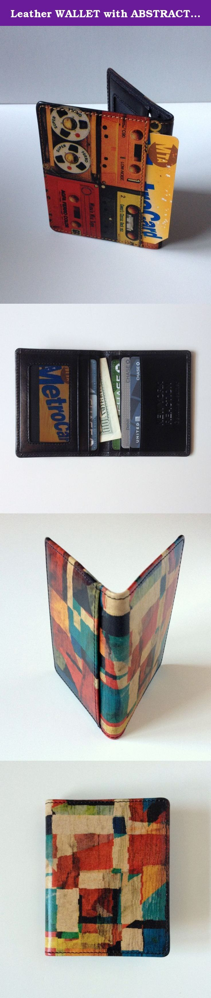 Leather WALLET with ABSTRACT ART DESIGN Slim Card Holder. Colorful Abstract Painting is printed on both sides. HAND CRAFTED...HAND PRINTED...GENUINE LEATHER Small BI FOLD WALLET Folded size App. 3.25 inch x 4 inch 8cm x 10.5cm 4 Card Slots inside ( 3 on one side and 1 on the other side ) 2 inner pocket for Cash / ID / Driver's License,etc. 1 outside Window Pocket on the back for ID /Driver's License etc (shown in the pics) Each pocket is beautifully lined. Hand made using traditional…