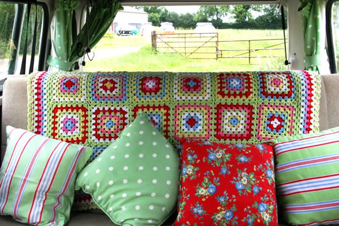 Ruthie's Renewed Treasures: Vintage Camper Decor ... Love the colors of this granny square blanket!!