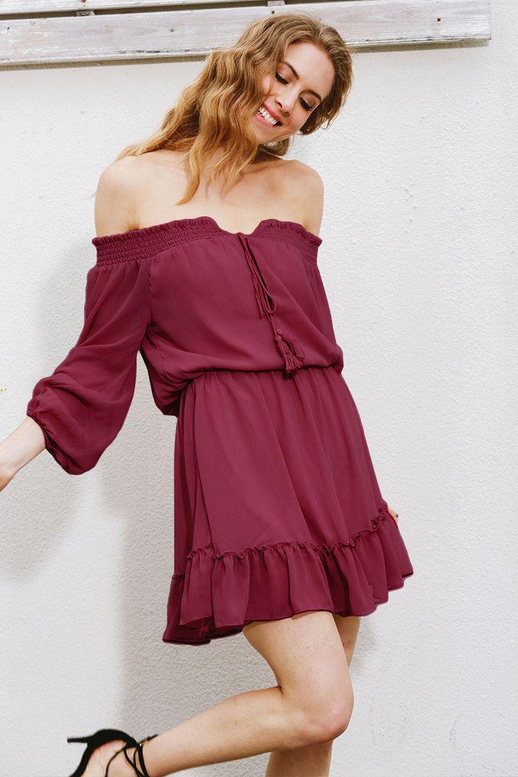 Off Shoulder Chiffon Straps Ruffles Long Sleeves Short Dress