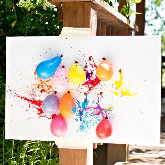 Check out the cool abstract art we made with this fun ballon dart painting activity!