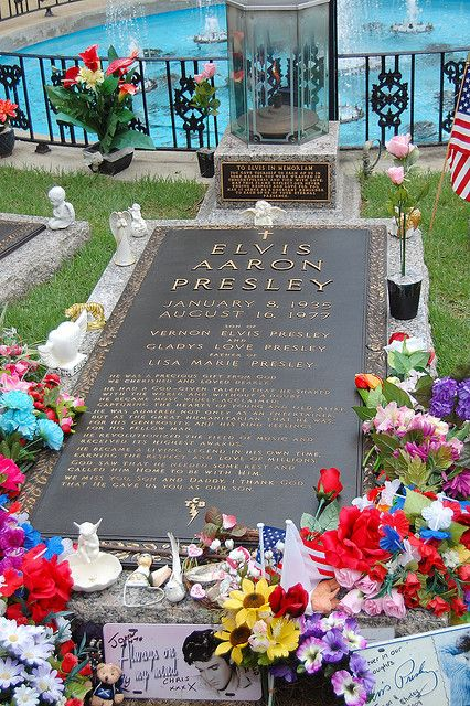 Grave of Elvis Presley in the Meditation Garden at the Graceland Mansion in Memphis, Tennessee