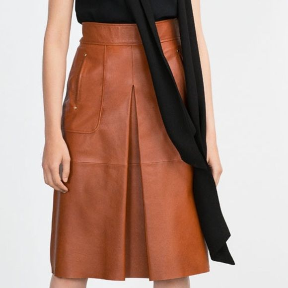 zara caramel leather skirt size m it has 3 small pen