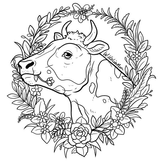 This Lovely Cow Is A Part Of My Vegan Themed Coloring Set It S Up On My Etsy Link In Bio Cow Art Rooster Art Cow Drawing