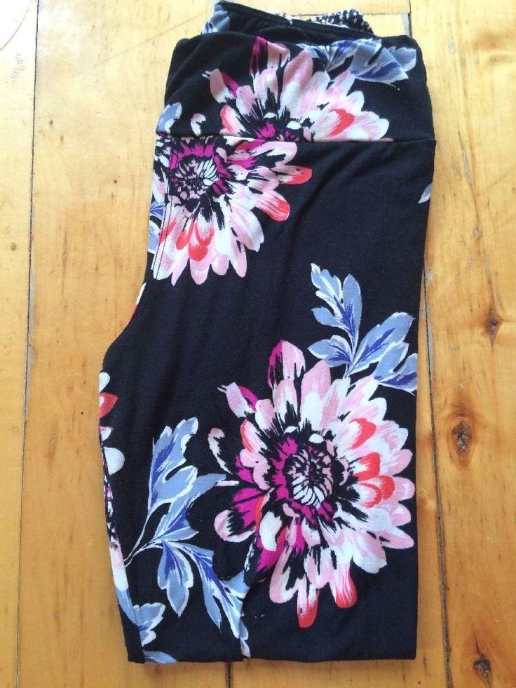 New Lularoe Black Floral Leggings OS One Size | eBay