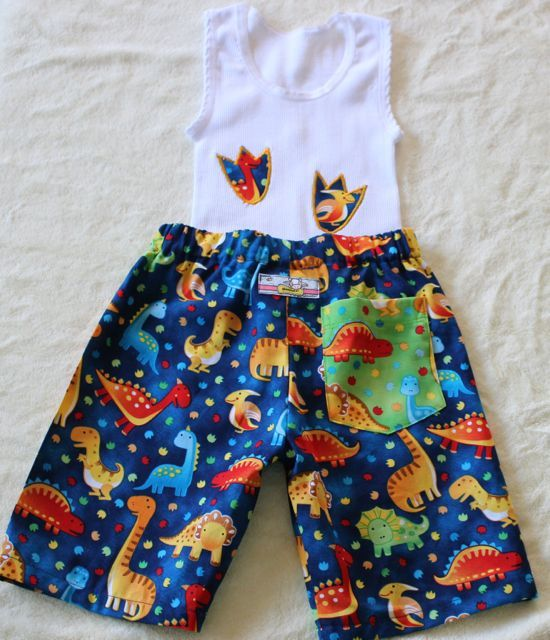 Boys Handmade Dinosaur singlet and shorts set