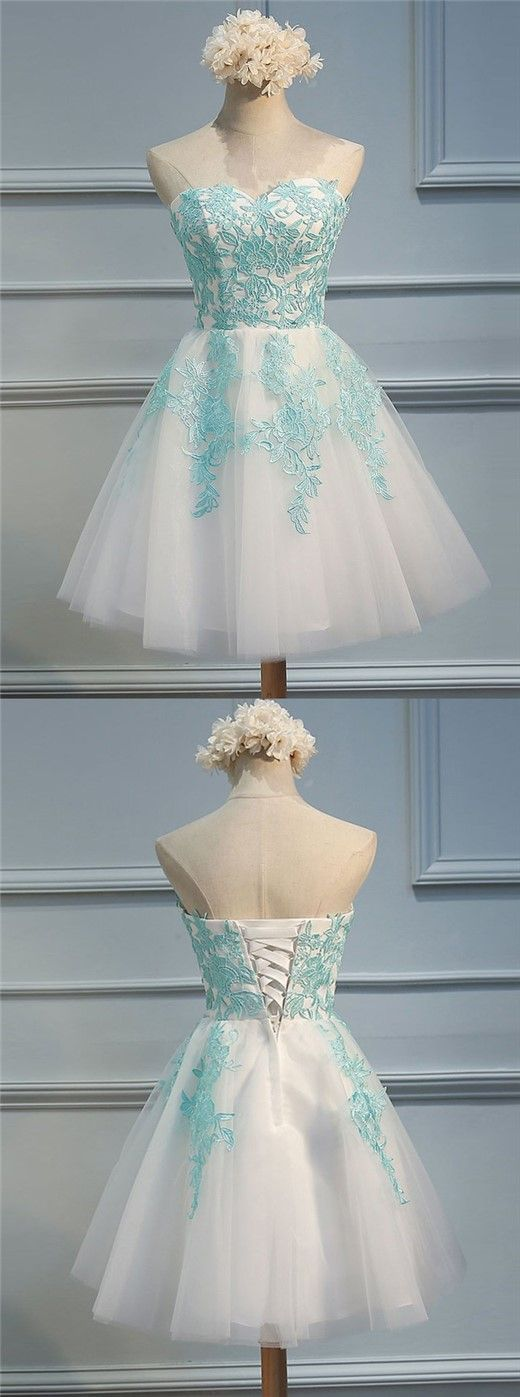 short homecoming dresses,tulle homecoming dresses,appliques homecoming dresses