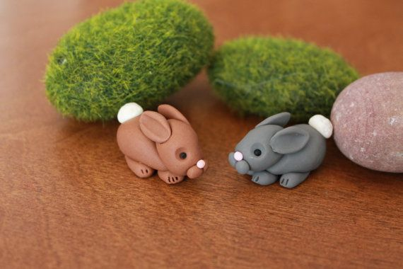 Bunny++Polymer+Clay+++Terrarium+Accessory++Fairy+by+GnomeWoods