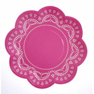 Lovely Lace Candy Pink Plates (10)