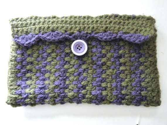 Crochet green and purple clutch handmade by QUINNYSCROCHET on Etsy