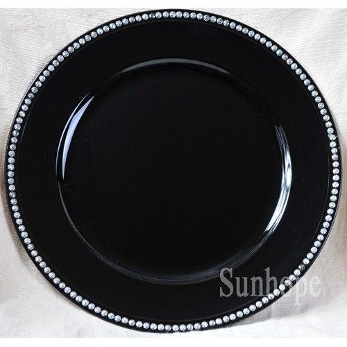 Black Rhinestone Charger Plate 24 Pk 35th Birthday