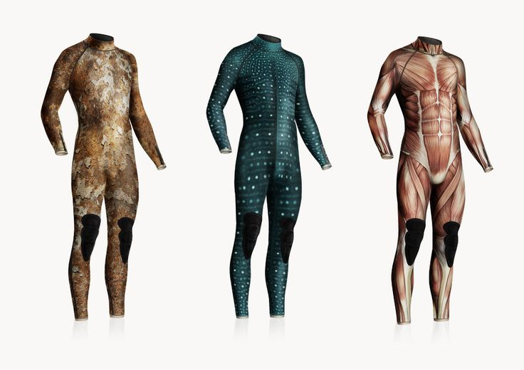 Wetsuits - by Diddo. I don't know about the rest, but I'd wear the middle one in a heartbeat!