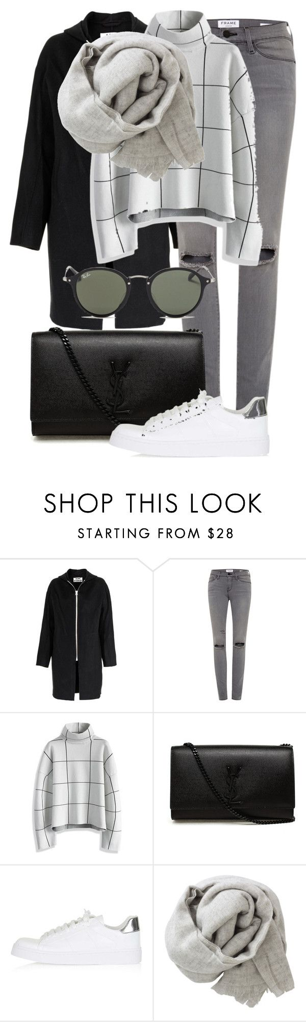 """Untitled #2256"" by annielizjung ❤ liked on Polyvore featuring Acne Studios, Frame, Chicwish, Yves Saint Laurent, Topshop, Brunello Cucinelli and Ray-Ban"