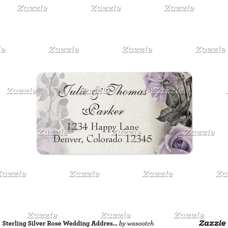 Sterling Silver Rose Wedding Address Labels Vintage sterling silver amethyst purple rose floral wedding address labels to be used for your wedding invitations and reply cards, or just use it as a pretty general return address label. To change the text, just use the personalize it option. If you want to change the font, font size, font colors, or text placement, use the customize it option. With changes to the text, these could also be used as wedding favor tags as well. Soft and romantic…