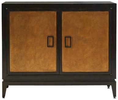 Storage Cabinet PORT ELIOT Antique Black Aged Gold Gild Mandarin Orange T PE-201